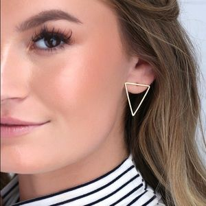 Lulus Tessellate Gold Triangle Earrings